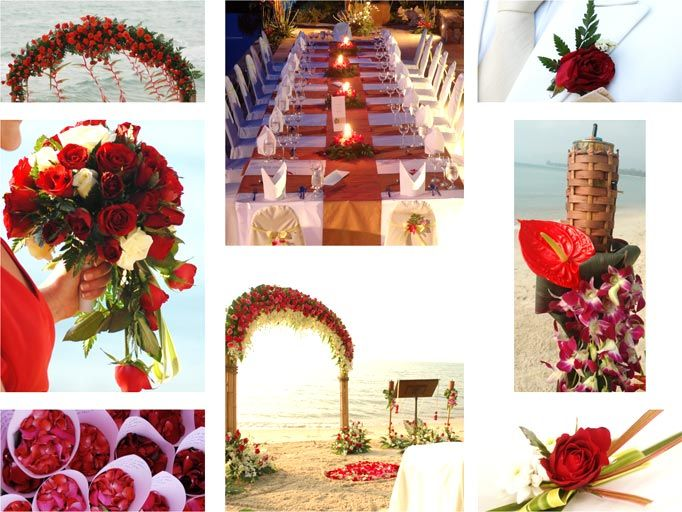 Roses, Anthurium, and Gerbera daisies can create a romantic and striking red colour scheme for a beach wedding