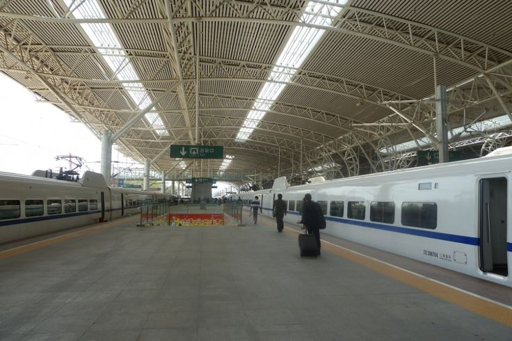 Nanjing railway station, China. High speed trains to Shanghai!