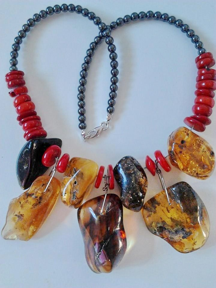 Big ones - even 5 cm Baltic amber, coral and hematite, for sale :-)