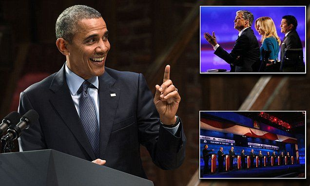 Obama takes to Broadway stage to trash GOP presidential candidates #DailyMail