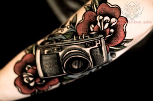 Color Flowers And Camera Tattoo