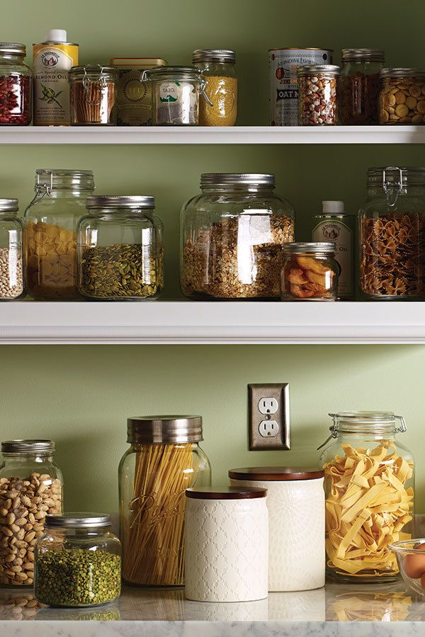 give your kitchen cupboard an instant upgrade with glass storage jars in with the food