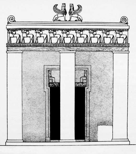 Ingresso del tempio di Prinias, sull'isola di Creta. La costruzione del tempio dorico risale alla fine del VII secolo a.C.