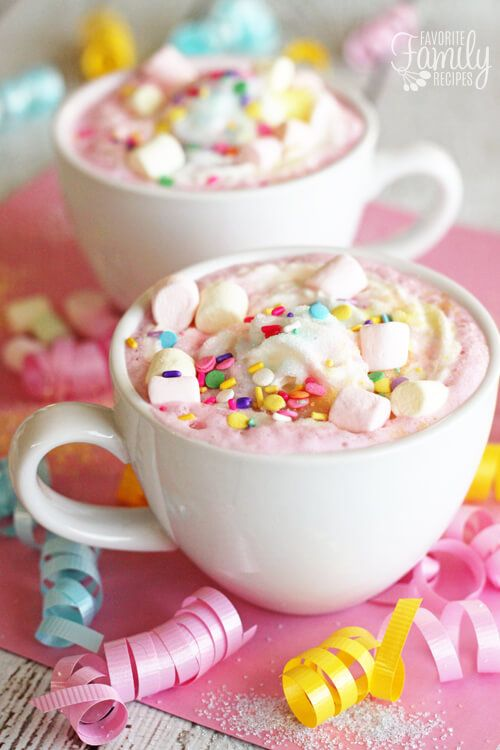 Drink up. Create a festive drink with this Unicorn Hot Chocolate. We love this for a family game night idea, but it's also a festive party drink for girls. More Family Game Night Snack Ideas on Frugal Coupon Living.