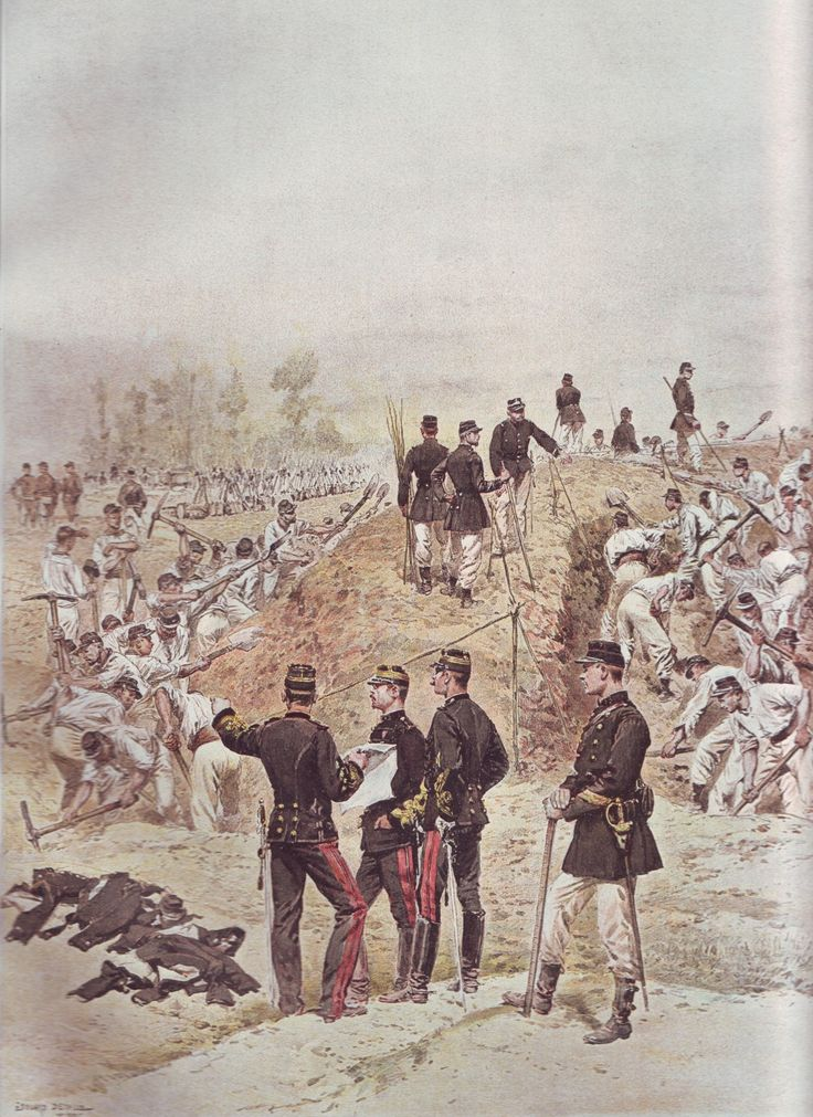 French Army 1900 Sapeurs building a redoubt by Édouard Detaille