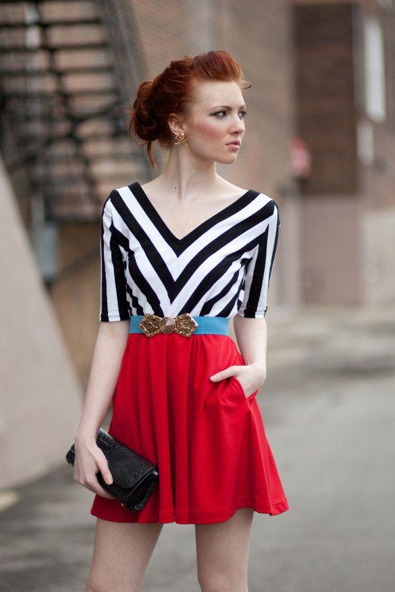 Black & White Chevron Striped Party dress with by yellowcake