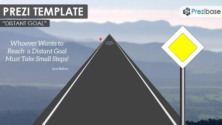 Prezi Template for describing a distant goal and the journey or path to it. Zoom into the far distance on an asphalt road and a mountain background. Guide the way using traffic signs and make up new creative meanings for them. Various traffic signs included for adding a unique story to the Prezi. A good Prezi to illustrate achievements, will, power, motivation, targeting, losing weight.