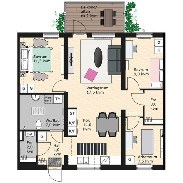 4:a 85 kvm. Bra: Sovrum uppdelat på två sidor om kök+vardagsrum. Toalettdörr mot neutralt rum (ej kök eller vardagsrum). Kök och vardagsrum någorlunda uppdelat.  Dåligt: Endast ett badrum/toalett i en 4:a. Mer uppdelning mellan kök och vardagsrum ev önskvärt (tänk pannkaksos).