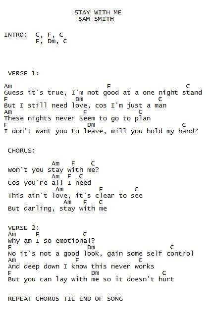 stay w me// sam smith : ukulele song sheets : Pinterest : Sam smith and Ukulele songs