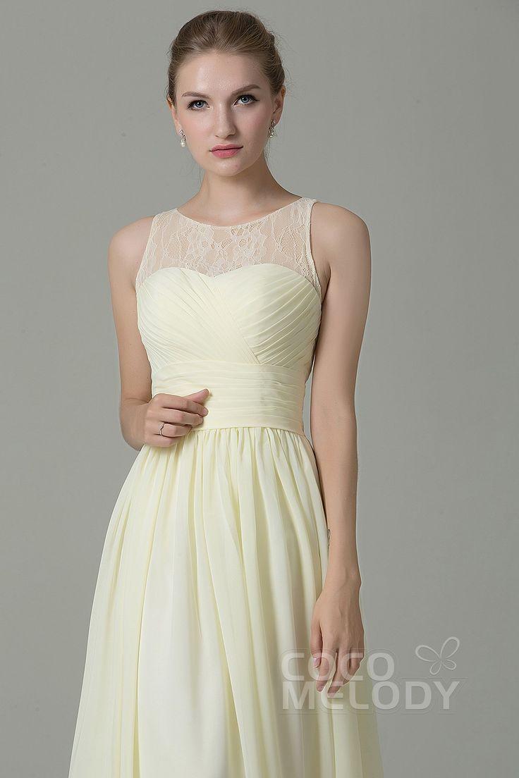 Hot Sale Sheath-Column Illusion Natural Floor Length Lace/Chiffon Light Yellow Sleeveless Zipper Bridesmaid Dress COZK16005 #cocomelody  #weddingdress