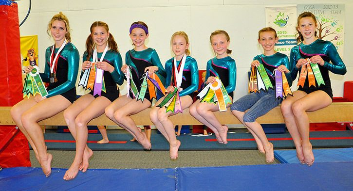 Williams Lake Gymnastics Club competitive team members Michaela Newberry (from left), Chloe Lutters, Thea Lutters, Kalli Campbell, Nya Chutskoff, Gabrielle Gracia, Katie Chipman and Hunter Jariette (missing) brought home multiple awards earlier this month from the Prince George Invitational Gymnastics Meet.