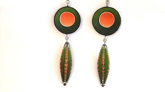 Polymer Clay Earrings Abstract Earrings Dangle Earring OOAK