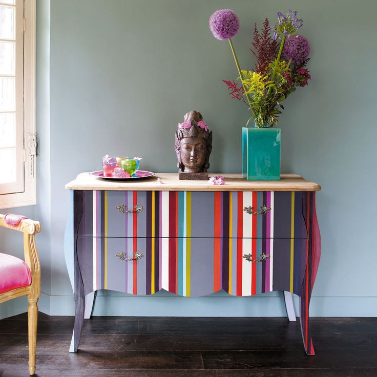 Commode à rayures en bois multicolore L 120 cm Néon | Maisons du Monde