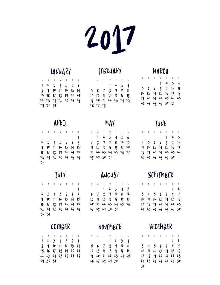 FREE Printable Minimal 2017 Calendar