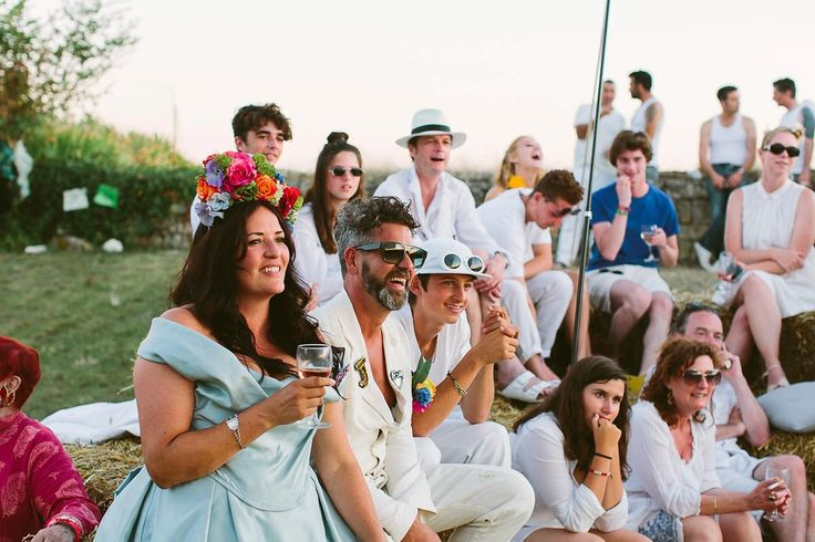 A Pale Blue Halfpenny London Gown for a Vibrant and Colourful Festival Wedding in France. Head piece by Theatre Of Flowers