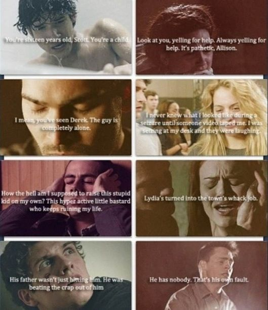 Teen Wolf Season 2 ❤ This is so sad! Especially Isaac's. I feel bad for all of them. They all seem tough, but they all have something they are secretly going through.