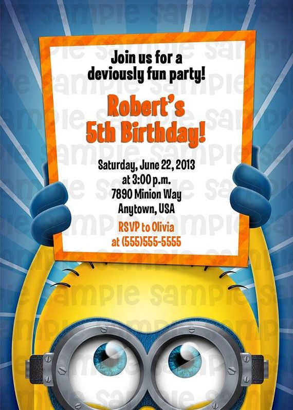 Despicable Me Minion Birthday Invitation By PinkTurtleShop 1100