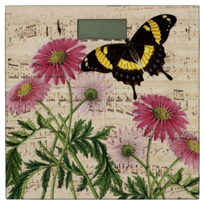 #Daisy Butterfly Music Bathroom Scale - #Bathroom #Accessories #home #living
