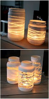 Yarn wrapped candle holders