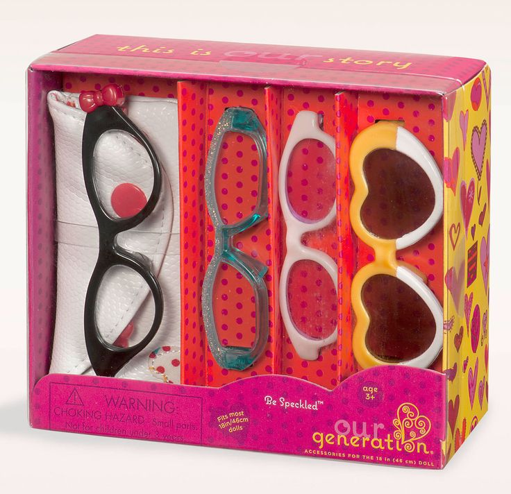 """Our Generation Be Speckled Glasses for your Our Generation Doll. This fabulous fashion accessory includes:  1 pair heart sunglasses 1 pair white sunglasses 1 pair funky glitter glasses 1 pair retro glasses and eye glass case Suitable for 18"""" 46cm Our Generation Dolls"""
