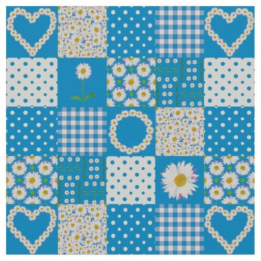 Pretty Blue Faux Patchwork Daisy Chains Fabric; up to $27.95 - http://www.zazzle.com/pretty_blue_faux_patchwork_daisy_chains_fabric-256217666964924371?view=113033120341478350&rf=238041988035411422&tc=pintw