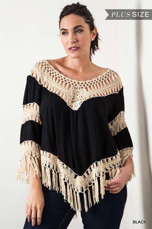 Crochet Knit Frayed Top - Black - Curvy