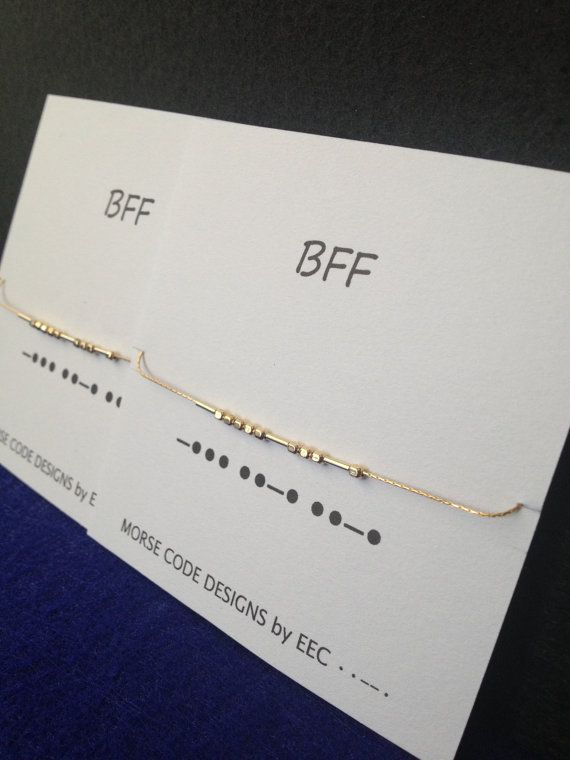 Celebrate your connection with your best friend with matching Morse Code necklaces. Necklaces feature 14k gold dots and dashes, hand strung