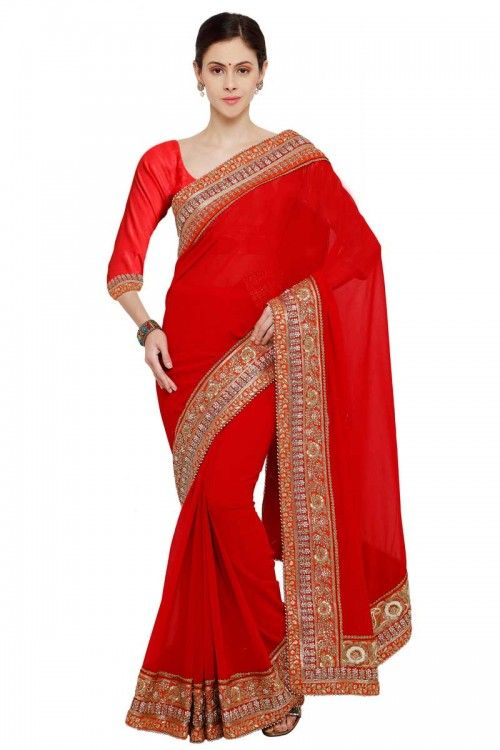 Red Georgette Saree With Georgette Blouse   http://www.andaazfashion.co.uk/womens/sarees/georgette