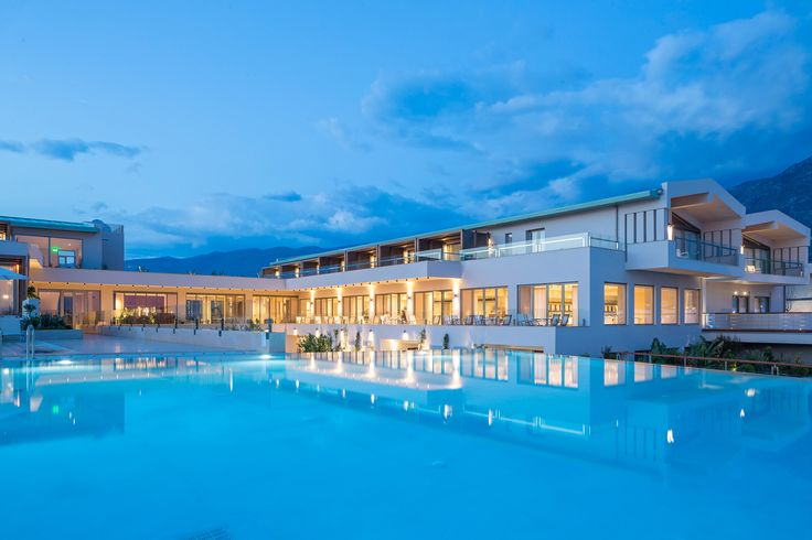 Evening view of Horizon Blu 5*, the newest and most impressive hotel in Kalamata, Peloponnese, Greece