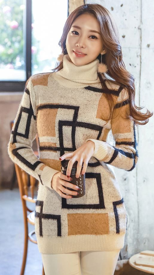 StyleOnme_Square Detailed Knit Sweater #sweater #turtleneck #knit #knittop