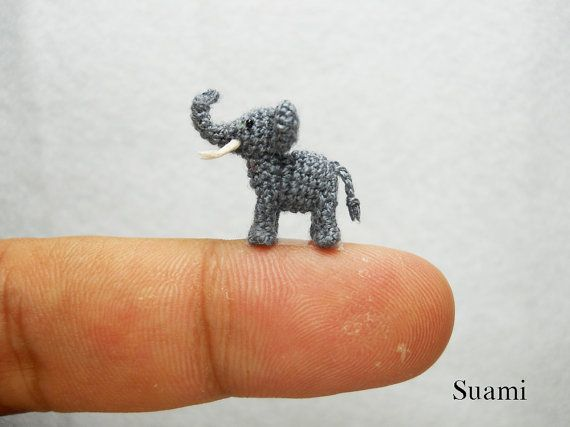 Extreme Tiny Elephant  Micro Crochet Miniature Animals  by suami. , via Etsy.