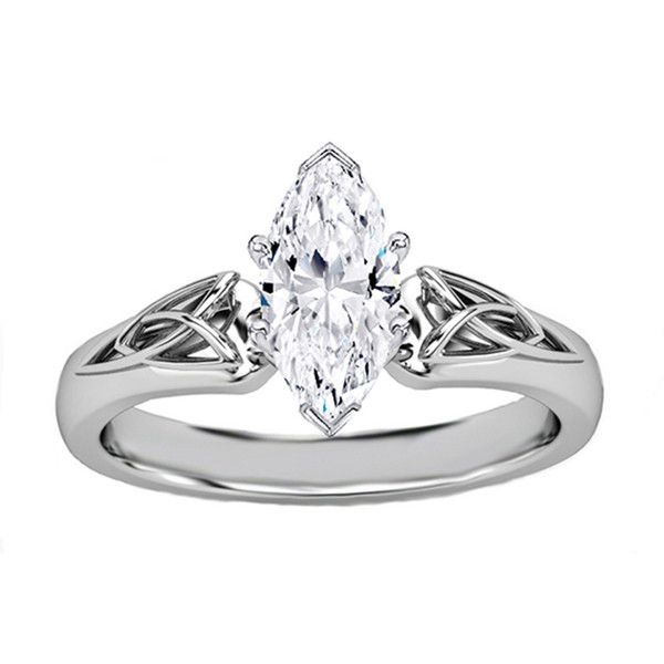 Engagement Ring - Marquise Diamond Triquetra Celtic Engagement Ring in... ($650) ❤ liked on Polyvore