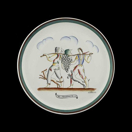 """""""Il trasporto"""" ceramic plate - Design Gio Ponti - Year 1920s - Manufacturer San Cristoforo, Milano"""