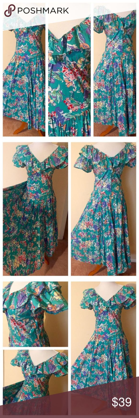 LAURA ASHLEY Green Floral Print Party Dress Sz 12 Vintage LAURA ASHLEY Green Floral Print Cotton Full Skirt Ruffle Top Garden Party Dress Sz 12. The measurements are as follow – Bust - 38 inches Waist – 32 inches Length – 50 inches Sweep – 170 inches Has pockets.  Thanks for looking! 031117-1 Dresses