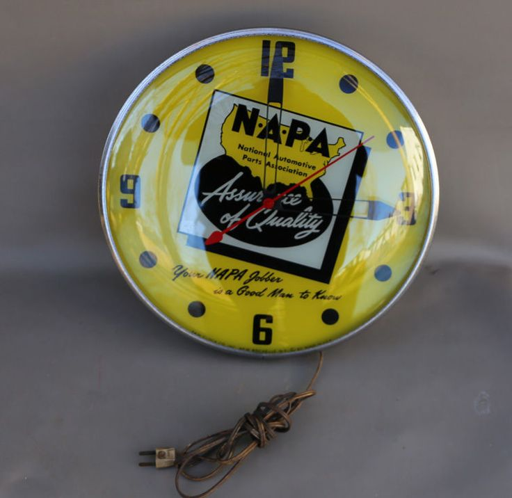 """NAPA Antique Clock (Old Vintage 1963 Auto Parts Supply Store Advertising Pam Clock, """"National Automotive Parts Association, N.A.P.A."""", """"Assurance of Quality"""", """"Your NAPA Jobber is a Good Man to Know"""")"""
