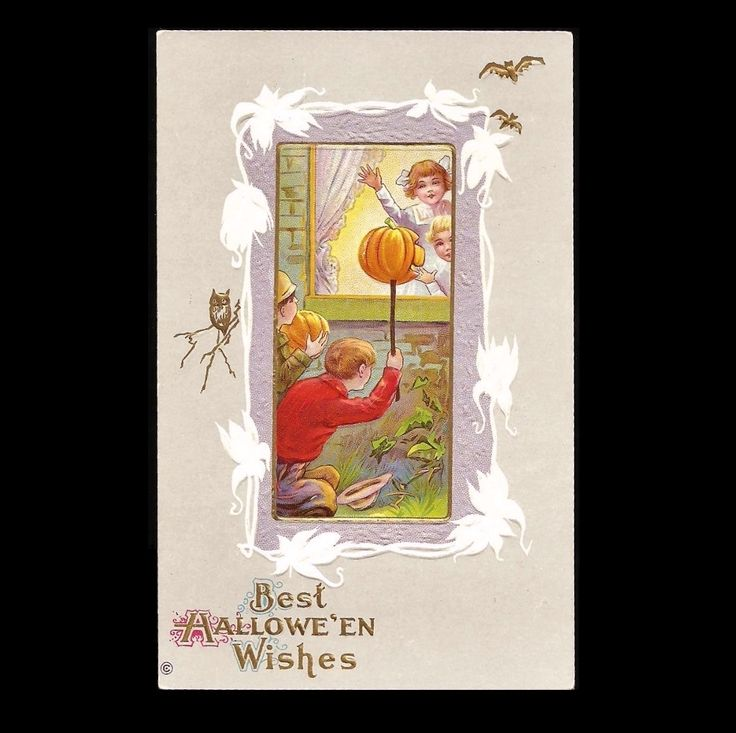 Halloween Postcard Series 345 D Embossed Pumpkin Boys and Girls