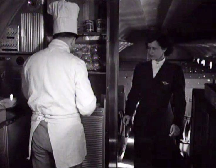 A KLM cook and stewardess preparing the on-board service offering in 'De Vliegende Hollander', a DC-6 from 1948. CC-BY-SA Open Beelden