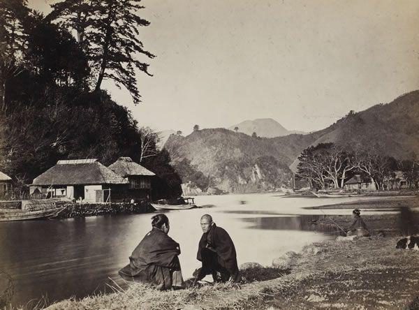 Village near Yokohama, 1869. by Wilhelm Burger.