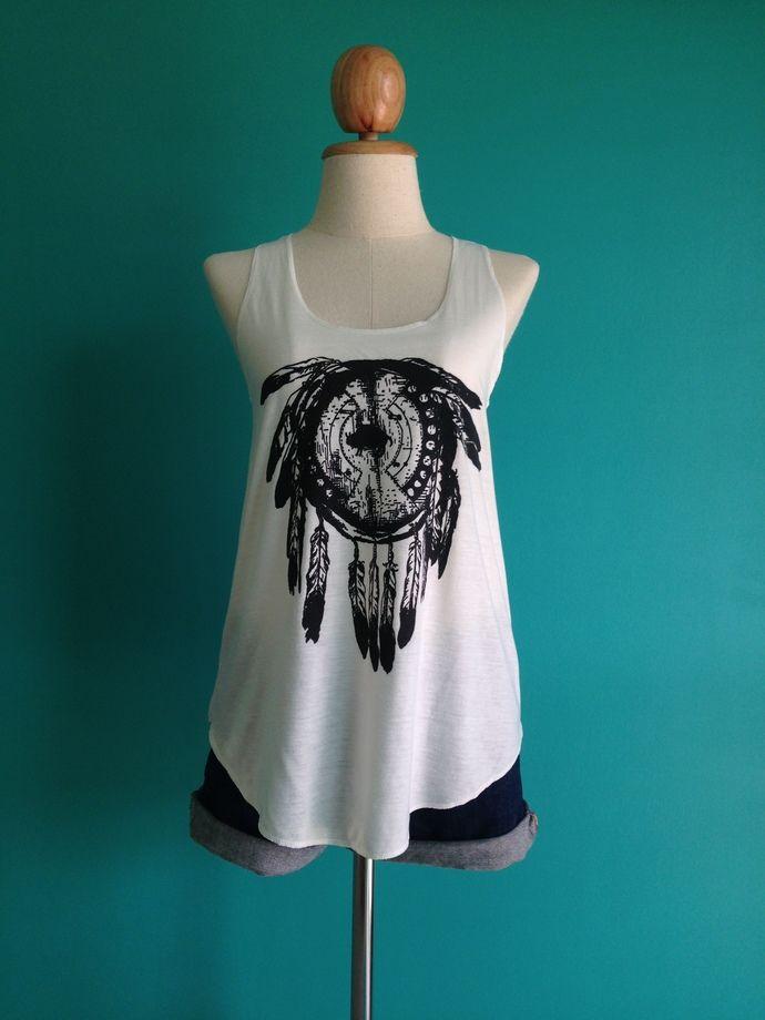 Dream Catcher Singlet , White T-Shirt , lady T-Shirt , Women T-Shirt , Crazy T Shirts , Skull Shirts, T shirt Size S M by i2udesign, $12.00 USD