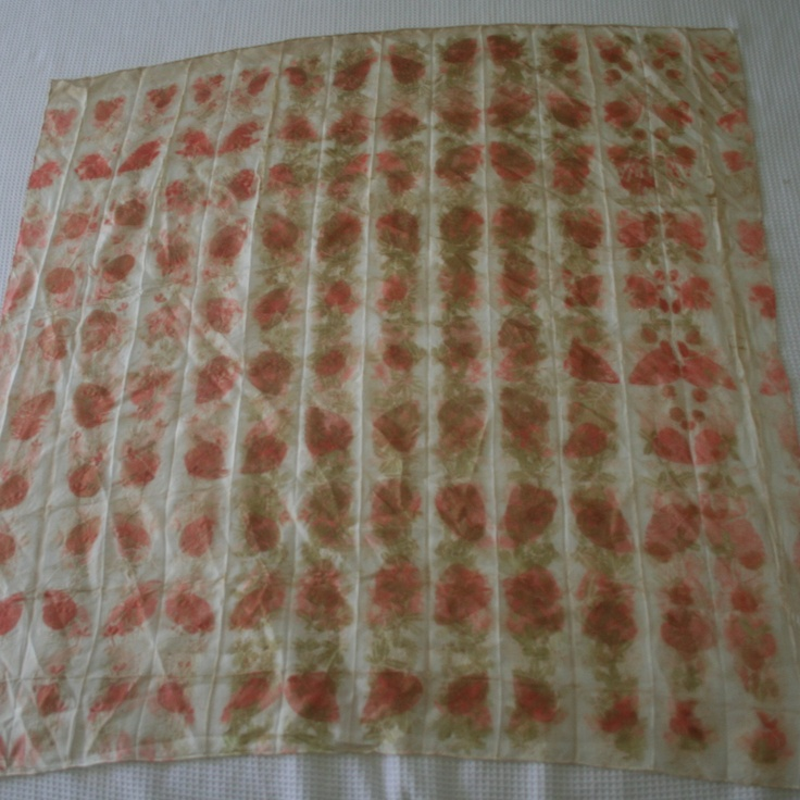 This is Lisa's fave so far, Silver Dollar and Cootamundra Wattle, 8mm silk habotai 90x90cm