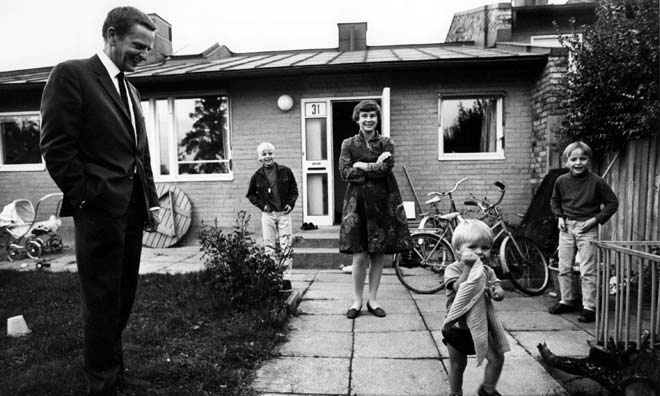 Palme i sitt hus i Vällingby