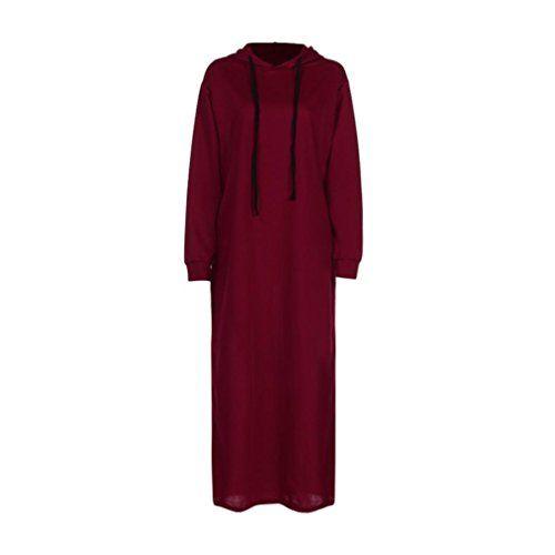 cf7da96f2d307 Familizo Robe à Capuche Femme Fashion Manche Longue Automne Hiver Printemps Robes  Longues (Rouge Medium)   Robes longues   Pinterest   Robe, ...