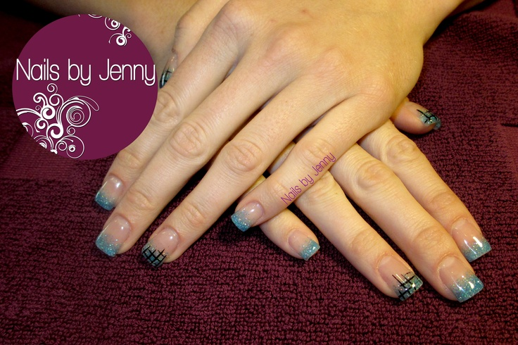 Full Set Gel Nails - Glitter Fade and Hand Painted Accents