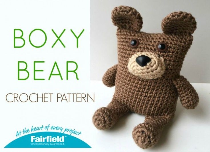 The Boxy Bear crochet FREE pattern. It is crocheted with a rectangular base to give it the boxy shape. Weighted stuffing beads are sewn into a pouch and inserted in the bottom of the bear before stuffing to help it sit up. Safety eyes and nose make it great for kids to play with.