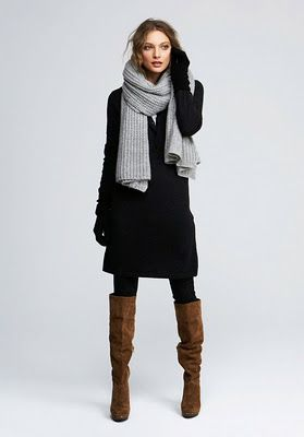 brown boots, black leggings or pants, scarf