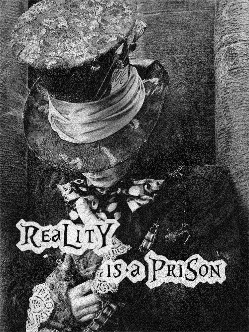 "Reality is a prison. Mad Hatter - Alice in Wonderland   I would rather write, ""We're all mad here."""