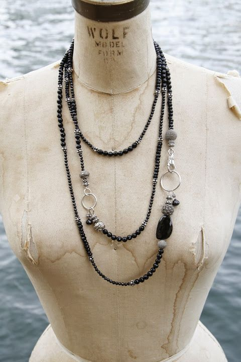 A nod to Lady Mary at Downton Abbey -- a long rope of spinel, onyx, and sterling silver.