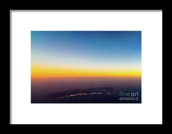 Aerial Photo Of Ocean Sunset Over Island Framed Print