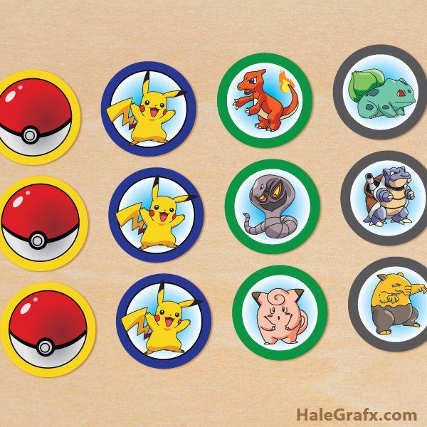 pokemon cupcake toppers FREE Printable Pokémon Cupcake Toppers