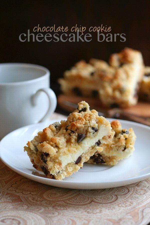 Chocolate Chip Cookie Cheesecake Bars via /dreamaboutfood/